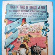 Carteles Toros: CARTEL TOROS Y FIESTAS , HIGUERA LA REAL 1908 , BADAJOZ , PEQUEÑO , ORIGINAL , H3. Lote 110128703