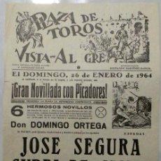 Carteles Toros: CARTEL PLAZA DE TOROS, VISTA ALEGRE, 1964 - JOSE SEGURA, CURRI DE CAMAS, EDUARDO ORDOÑEZ. Lote 110342131