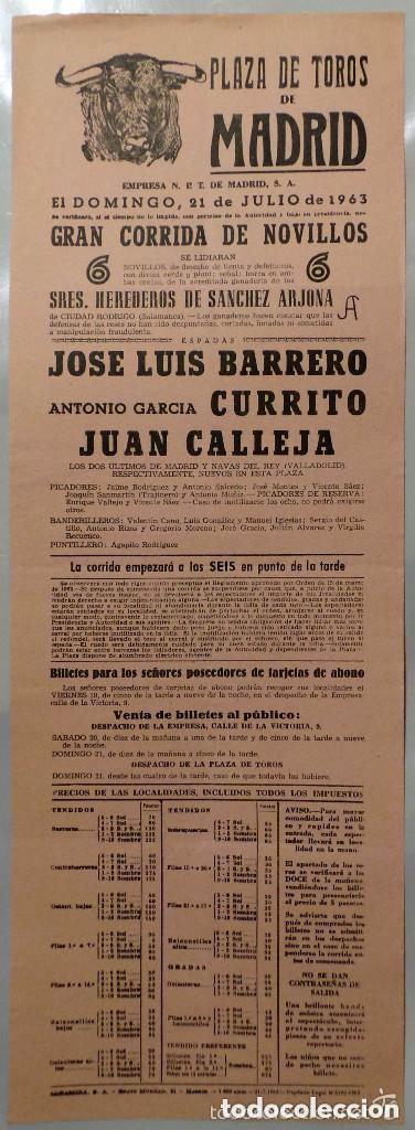 CARTEL PLAZA DE TOROS, MADRID, 1963 - BARRERO, CURRITO, JUAN CALLEJA (Coleccionismo - Carteles Gran Formato - Carteles Toros)