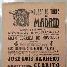 Carteles Toros: CARTEL PLAZA DE TOROS, MADRID, 1963 - BARRERO, CURRITO, JUAN CALLEJA. Lote 110342643