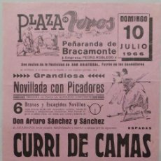 Carteles Toros: CARTEL PLAZA DE TOROS DE PEÑARANDA DE BRACAMONTE, 1966 - CURRI DE CAMAS, TINO MORTE, UTRERITA. Lote 110342987
