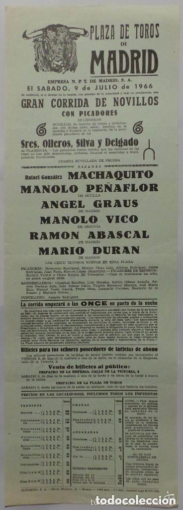 CARTEL PLAZA DE TOROS DE MADRID , 1966 - MACHAQUITO - PEÑAFLOR - GRAUS - VICO - ABASCAL - DURAN (Coleccionismo - Carteles Gran Formato - Carteles Toros)