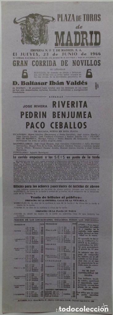 CARTEL PLAZA DE TOROS DE MADRID, 1966 - RIVERITA, BENJUMEA, CEBALLOS (Coleccionismo - Carteles Gran Formato - Carteles Toros)