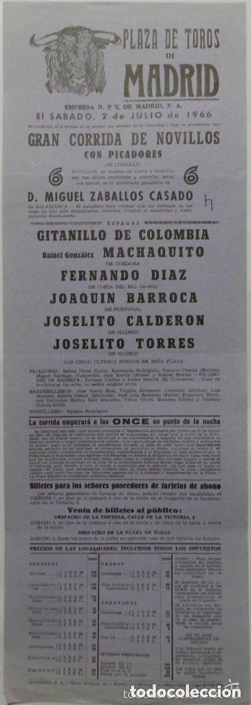 CARTEL PLAZA DE TOROS DE MADRID, 1966 - MACHAQUITO, GITANILLO DE COLOMBIA, BARROCA, TORRES (Coleccionismo - Carteles Gran Formato - Carteles Toros)