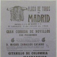 Carteles Toros: CARTEL PLAZA DE TOROS DE MADRID, 1966 - MACHAQUITO, GITANILLO DE COLOMBIA, BARROCA, TORRES. Lote 110345039