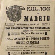 Carteles Toros: CARTEL PLAZA DE TOROS DE MADRID - 1961. Lote 110345459