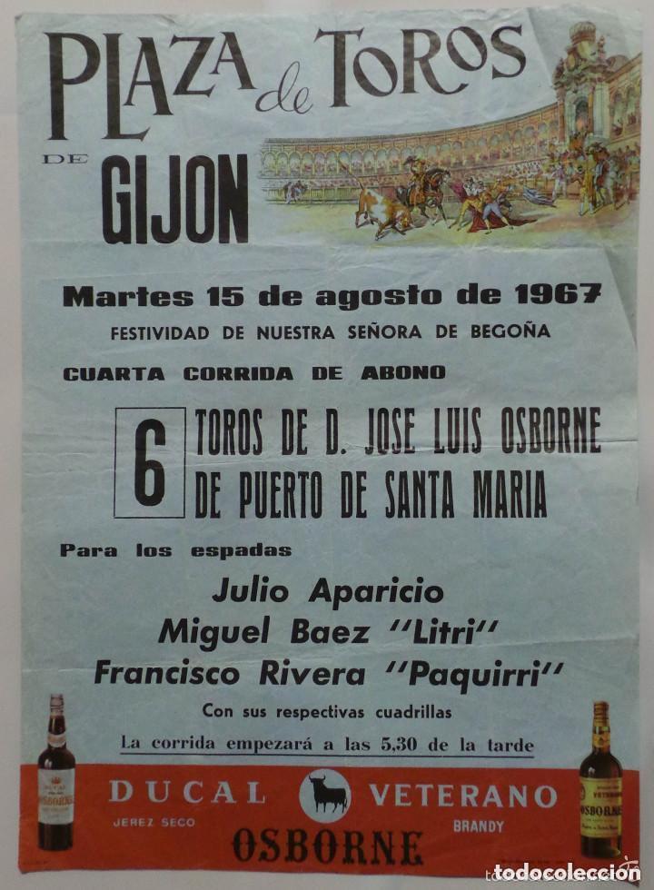 CARTEL TOROS PLAZA DE GIJON -1967- JULIO APARICIO - MIGUEL BAEZ LITRI - FRANCISCO RIBERA PAQUIRRI (Coleccionismo - Carteles Gran Formato - Carteles Toros)