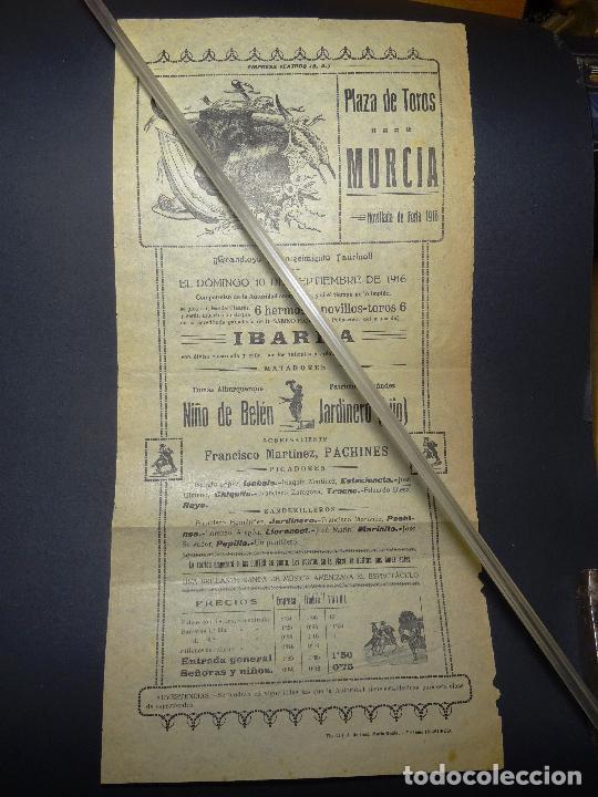 AÑO 1916.- CARTEL TOROS MURCIA, GANADERIA IBARRA. NOVILLADA DE FERIA (Coleccionismo - Carteles Gran Formato - Carteles Toros)