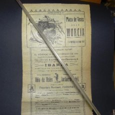 Carteles Toros: AÑO 1916.- CARTEL TOROS MURCIA, GANADERIA IBARRA. NOVILLADA DE FERIA. Lote 110510707