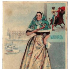 Carteles Toros: ANTIGUO CARTEL PUBLICITARIO EN CARTON DE LA PLAZA DE TOROS DE MALLORCA. . Lote 111224379