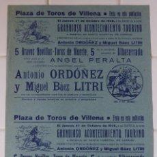 Carteles Toros: VILLENA, ALICANTE - CARTEL TOROS, AÑO 1949. Lote 111471755