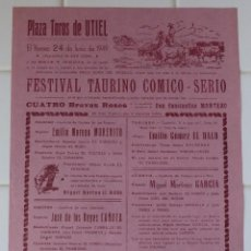 Carteles Toros: UTIEL, VALENCIA - CARTEL TOROS, AÑO 1949. Lote 111471979