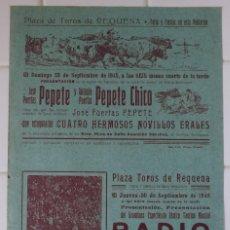 Carteles Toros: REQUENA, VALENCIA - CARTEL TOROS, AÑO 1945. Lote 111472667