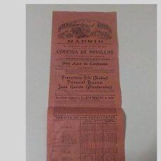Carteles Toros: ANTIGUO CARTEL PLAZA DE TOROS DE MADRID. 29 DE JUNIO DE 1913. Lote 111474287