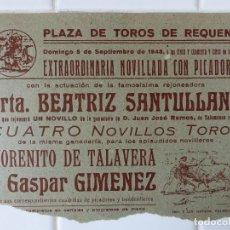 Carteles Toros: REQUENA, VALENCIA - CARTEL TOROS, AÑO 1948. Lote 111480231