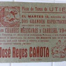 Carteles Toros: UTIEL, VALENCIA - CARTEL TOROS, AÑO 1949. Lote 111480387