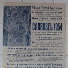 Carteles Toros: LOGROÑO - CARTEL TOROS, AÑO 1954. Lote 111480843