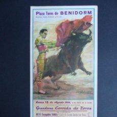 Carteles Toros: CARTEL TOROS - BENIDORM, ALICANTE - AÑO 1966 - EL TINO, MIGUELIN, PALMEÑO. Lote 111899427