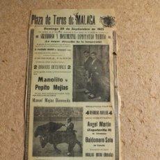 Carteles Toros: CARTEL DE TOROS DE MÁLAGA. 20 DE SEPTIEMBRE DE 1925. MANOLITO Y PEPITO MEJÍAS.. Lote 112905267