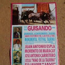 Affiches Tauromachie: CARTEL DE TOROS DE GUISANDO. 2 DE OCTUBRE DE 1993. J. A. ESPLÁ, MORENITO DE MARACAY,. Lote 113749091