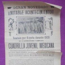 Carteles Toros: CARTEL TOROS, PLAZA VALENCIA, 1909, CARLOS LOMBARDINI Y PEDRO LOPEZ, CT189. Lote 113837091