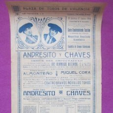 Carteles Toros: CARTEL TOROS, PLAZA VALENCIA, 1916, ANDRESITO Y CHAVES, CT190. Lote 113837295