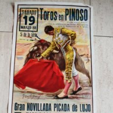Affiches Tauromachie: CARTEL DE TOROS DE PINOSO. 19 DE MARZO DE 1988. JOSELILLO, JOSÉ LUIS PERLATA Y PEDRITO GALÁN.. Lote 113895427