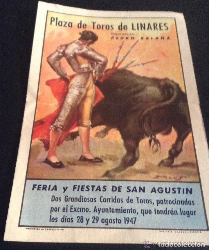 PROGRAMA DE MANO DE LA MUERTE DE MANOLETE PLAZA DE TOROS DE LINARES 28 DE AGOSTO DE 1947 (Coleccionismo - Carteles Gran Formato - Carteles Toros)
