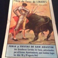 Carteles Toros: PROGRAMA DE MANO DE LA MUERTE DE MANOLETE PLAZA DE TOROS DE LINARES 28 DE AGOSTO DE 1947. Lote 114302851