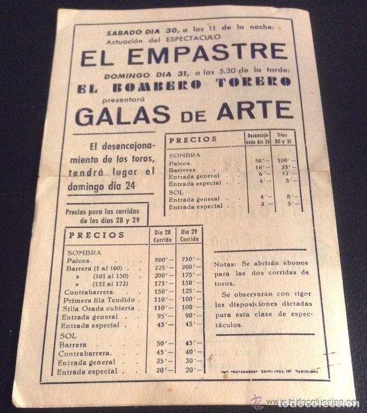 Carteles Toros: PROGRAMA DE MANO DE LA MUERTE DE MANOLETE plaza de toros de LINARES 28 DE AGOSTO DE 1947 - Foto 2 - 114302851
