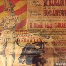 Carteles Toros: CARTEL HISTÓRICO DE DON TANCREDO EN LA PLAZA DE TOROS DE BAEZA.19 MAYO DE 1901. AUTOR A. DIAZ. ÚNICO. Lote 114449095
