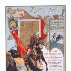 Carteles Toros: CARTEL EN PAPEL DE TOROS DE LA CORRIDA DE LA MAYORÍA DE EDAD DE ALFONSO XIII. 1902.. Lote 114452567