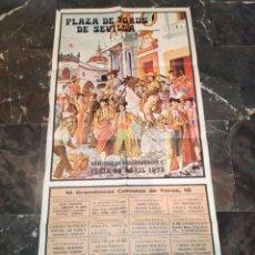 Affiches Tauromachie: ENORME CARTEL PLAZA DE TOROS DE SEVILLA FERIA DE ABRIL 1973. Lote 114590819