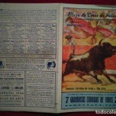 Carteles Toros: 1946 DÍPTICO PLAZA DE TOROS DE VALENCIA 27,2 X 21 PROGRAMA DE MANO. Lote 115626543