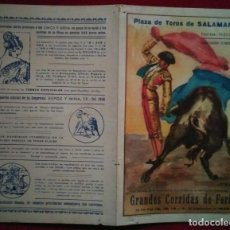 Carteles Toros: 1949 DÍPTICO PLAZA DE TOROS DE SALAMANCA 27,2 X 21 PROGRAMA DE MANO. Lote 115626623