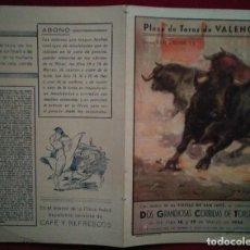 Carteles Toros: 1944 DÍPTICO PLAZA DE TOROS DE VALENCIA 27,2 X 21 PROGRAMA DE MANO. Lote 115626659