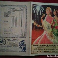 Carteles Toros: 1950 ALICANTE DÍPTICO PLAZA DE TOROS DE ALICANTE 27,2 X 21 PROGRAMA DE MANO. Lote 115626787