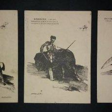 Carteles Toros: 3 LITOGRAFIAS ANTONIO MÁRQUEZ VISTO POR MARTINEZ DE LEÓN - TOROS - TOREROS. Lote 115627215