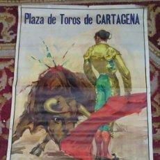 Carteles Toros: GRAN CARTEL PLAZA DE TOROS DE CARTAGENA, CROS ESTREMIS, ANTONIO BIENVENIDA, APARICIO, LITRI.... Lote 115685491
