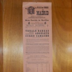 Carteles Toros: CARTEL TAURINO CORRIDA TOROS - PLAZA MADRID - 31 DE OCTUBRE 1971 - 48,5 X 16 CM - ANGELETE . Lote 116110375