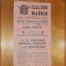 Carteles Toros: CARTEL TAURINO CORRIDA TOROS - PLAZA MADRID - 19 DE SEPTIEMBRE 1971 - 48,5 X 22 CM - EL JEREZANO. Lote 116112779