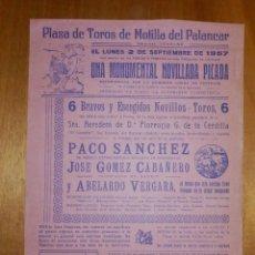 Carteles Toros: CARTEL TAURINO CORRIDA TOROS - PLAZA MOTILLA DEL PALANCAR - 2 DE SEPTIEMBRE 1957 - 32 X 22 CM - . Lote 116113679