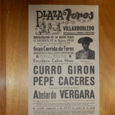 Carteles Toros: CARTEL TAURINO CORRIDA TOROS - PLAZA VILLARROBLEDO - 15 DE AGOSTO 1958 - 44 X 21,5 CM - . Lote 116114211