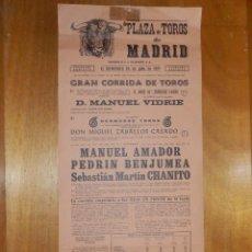 Carteles Toros: CARTEL TAURINO CORRIDA TOROS - PLAZA MADRID - 25 JULIO 1971 - 49 X 22 CM - PEDRIN BENJUMEA. Lote 116117879