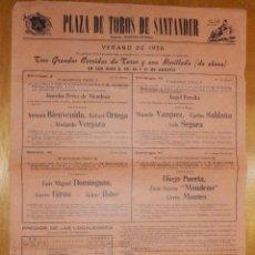 Carteles Toros: CARTEL TAURINO CORRIDA TOROS - PLAZA SANTANDER - VERANO 1958 - 43 X 31,5 CM - LOS CALDERONES. Lote 116118851