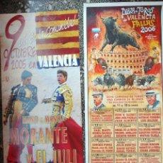 Carteles Toros: DOS CARTELES DE TOROS DE VALENCIA .2004 DIBUJO DE - LOPEZ CANITO-Y 2005 DIA LA COMUNIDAD CON EL JULI. Lote 116558355