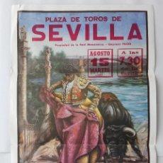Carteles Toros: CARTEL PLAZA TOROS SEVILLA 1989, SANCHEZ PUERTO, MORENITO MARACAY, LUCIO SANDIN, 90 X 45,5 CM.. Lote 116849075