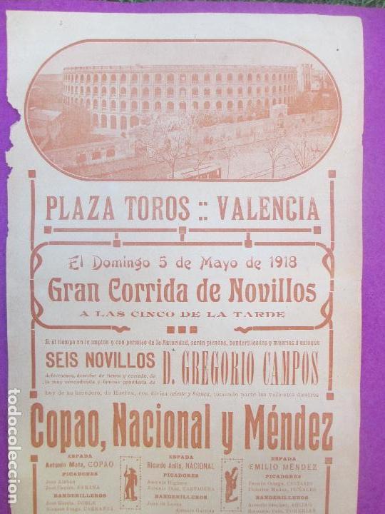 CARTEL TOROS, PLAZA VALENCIA, 1918, COPAO, NACIONAL Y MENDEZ, CT256 (Coleccionismo - Carteles Gran Formato - Carteles Toros)