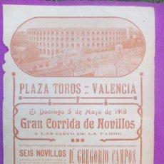 Carteles Toros: CARTEL TOROS, PLAZA VALENCIA, 1918, COPAO, NACIONAL Y MENDEZ, CT256. Lote 116990515
