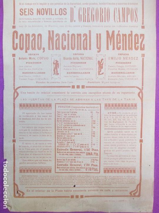 Carteles Toros: CARTEL TOROS, PLAZA VALENCIA, 1918, COPAO, NACIONAL Y MENDEZ, CT256 - Foto 2 - 116990515